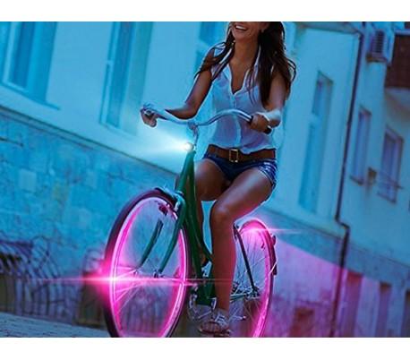 Pack 2 piezas de luces LED fluorescentes para coches motos y bici - Decoración noctura de ruedas y neumáticos