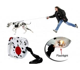 Correa extensible para perro de hasta 35 KG (4,5 metros) con luz nocturna de seguridad