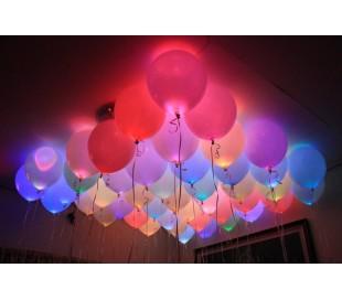 Globos luminosos LED fiestas y cumpleaños (Pack 5 unidades / Colores surtido)