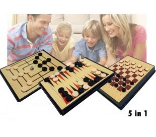 Juego de mesa 5 en 1 (Ajedrez / Damas / Backgammon / 3 en Raya)