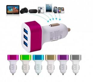 Cargador 3 en 1 - (3 puertos USB) para el móvil y dispositivos electrónicos que funciona con la toma de encendedor del coche