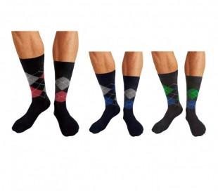 Pack de 6 o 12 pares de calcetines para hombre hechos de hilo de Escocia con motivo de rombos