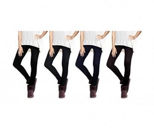 Set 4 leggings mod. ETHNIC en diferentes colores y con revestimiento de felpa - Moda femenina de invierno