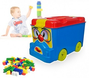 Juego de construcción (64 piezas) en caja con forma de AUTOBÚS 114497 - Juguete infantil para niños
