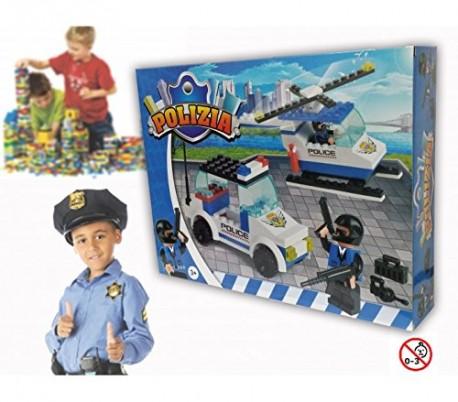 Juego de construcción con motivo de POLICÍAS set de 130 PZ con 2 personajes incluye helicóptero y coche 371142