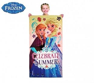 Toalla para la playa con motivo de ELSA FROZEN 70 x 140 cm 100% algodón y color rosa - Regalo infantil para niña WD15104