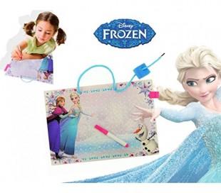 Pizarra para niños y niñas de Frozen con marcador y borrador (28 x 20cm) - Juego y juguete para el aprendizaje infantil