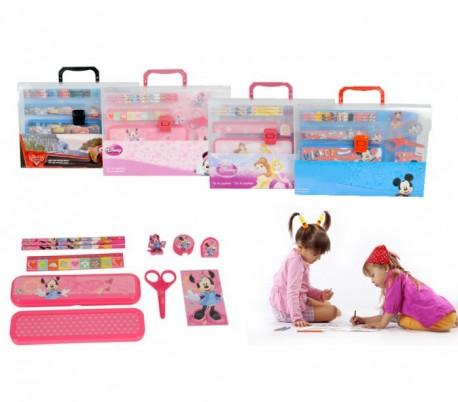 Set escolar 11 piezas con motivo de PERSONAJES DISNEY en cómodo maletín de transporte - Regalo infantil para niño y niña