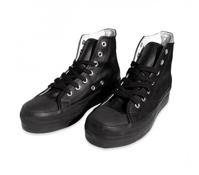 Zapatos modelo FRANKY de cuero con plataforma de 3,5 cm - Beige, 37