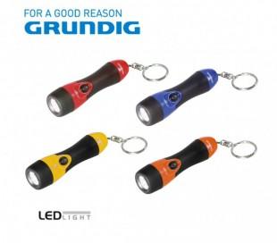 Linterna 1 LED con empuñadura de goma 9 cm de largo con gancho para enganchar a las llaves - Grundig