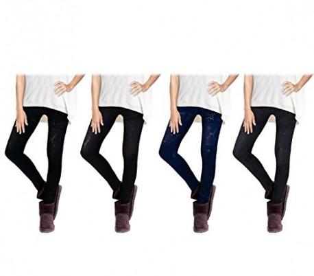 Set 4 leggings con motivo de FANTASÍA NÓRDICA en diferentes colores y con revestimiento de felpa - Moda femenina de invierno
