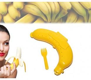 Porta-plátanos con tenedor (color amarillo)