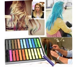 Pack de 24 tizas para pintarse el pelo varios colores no tóxicas para el cabello