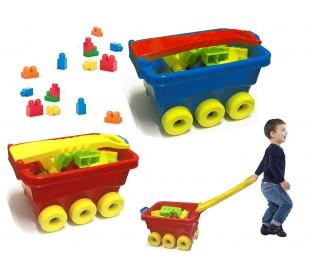 Juego de construcción (47 piezas) en caja con forma de CARRITO 114282 - Juguete infantil para niños