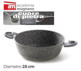 Cacerolade 24cm y dos mangos antiadherente y revestimiento con efecto piedra - Accademia Mugnano CUORE DI PIETRA