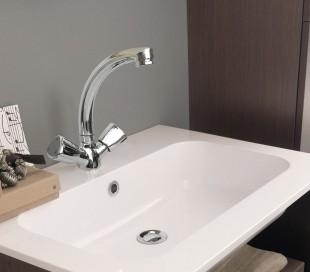 Grifo mezclador de cocina y baño de caño alto con doble mando (22 cm) 70605