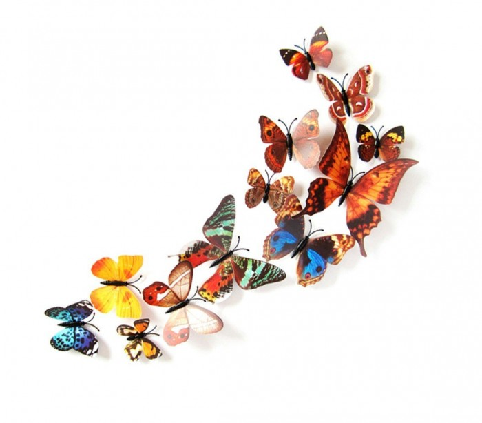 Kit 12 mariposas 3d adhesivas para pared new colors - Mariposas en la pared ...