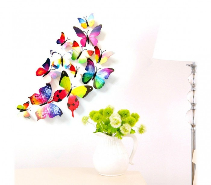 Kit 12 mariposas 3d adhesivas para pared new colors for Decoracion hogar 3d