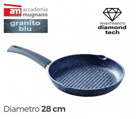 Parrilla de 26 cm con recubrimiento antiadherente de efecto piedra y revestimiento Diamond Tech - Accademia Mugnano GRANITO BLU