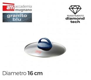 Tapa de vidrio 16cm para ollas cacerolas y sartenes - Accademia Mugnano GRANITO BLU