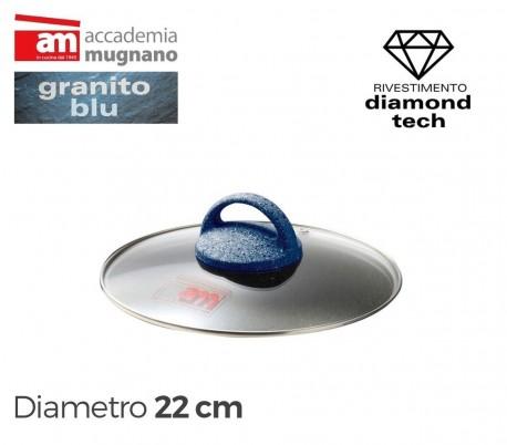 Tapa de vidrio 20cm para ollas cacerolas y sartenes - Accademia Mugnano GRANITO BLU