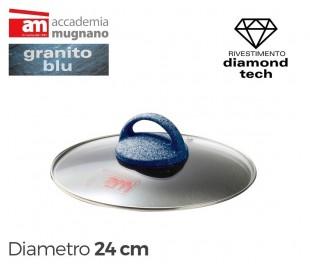 Tapa de vidrio 24cm para ollas cacerolas y sartenes - Accademia Mugnano GRANITO BLU