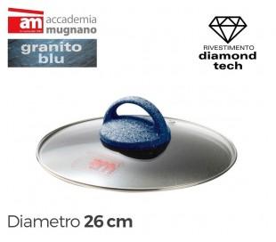 Tapa de vidrio 26cm para ollas cacerolas y sartenes - Accademia Mugnano GRANITO BLU