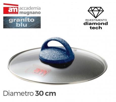 Tapa de vidrio 30cm para ollas cacerolas y sartenes - Accademia Mugnano GRANITO BLU