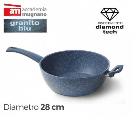 Cacerola alta de 28 cm y dos mangos antiadherentes de efecto piedra y revestimiento - Accademia Mugnano Linea GRANITO BLU