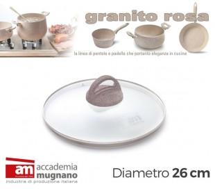 Tapa de vidrio 26cm para ollas cacerolas y sartenes - Accademia Mugnano GRANITO ROSA
