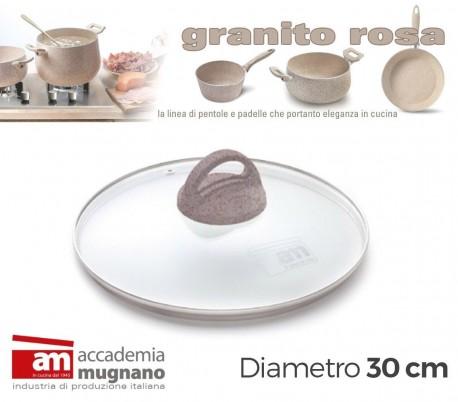 Tapa de vidrio 30cm para ollas cacerolas y sartenes - Accademia Mugnano GRANITO ROSA