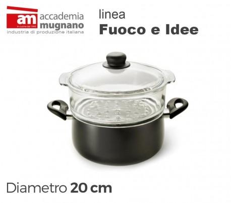 Cacerola vaporera de 20 cm con dos mangos antiadherentes de efecto piedra - Accademia Mugnano Linea FUOCO & IDEE