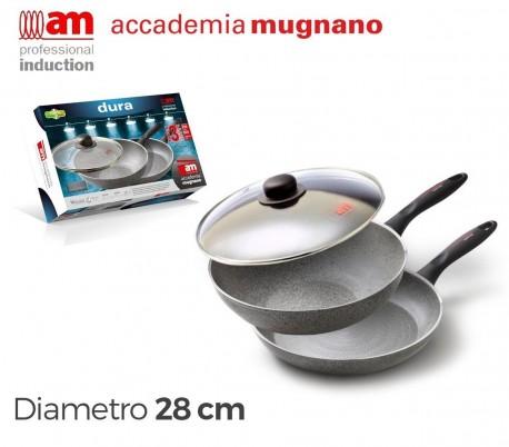 Pack de 2 sartenes de 28cm y una tapa de vidrio con recubrimiento antiadherente de efecto piedra - Accademia Mugnano Linea DURA