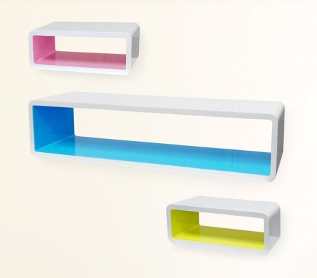 Estanterías de diferentes colores hechas de madera lacada (Set 3 piezas) - Muebles para el hogar