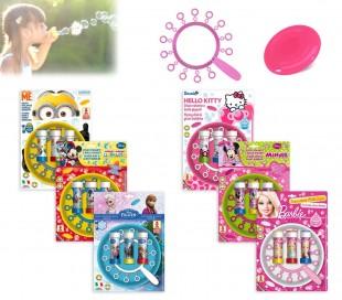 Set infantil de juguetes para niño y niña (frisbee + multi trompeta de pompas) con motivo de HELLO KITTY
