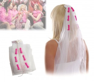 Juguete de despedida de soltera (Velo de novia con motivo de pene) 748944