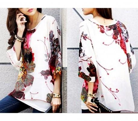 Blusa de talle ancho hecho de gasa y con estampado floral blanco 005 17ffcf0b2e953