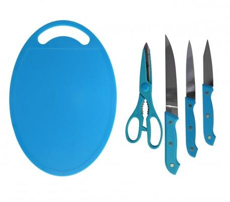 Set de 5 piezas (incluye cuchillos + tijeras + tabla de cortar) en diferentes colores - Menaje de cocina