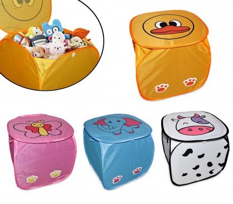 748361 Baúl plegable POP-UP para juguetes con diferentes motivos de ANIMALES (45 x 45 cm)
