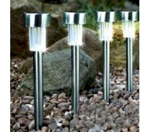Set 4 lamparas a energia solar de jardín