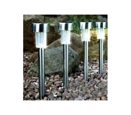 Set 4 lamparas a energia solar de jard n for Iluminacion para jardines energia solar