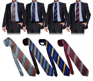 PW28 Corbata clásica hecha a mano de rayas oblicuas