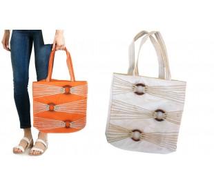 Bolso 36x37x12 cm mod. SADIRA con detalles de madera y cuerdas en dos colores