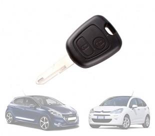 Carcasa para llave de coche con control remoto compatible con CITROEN - PEUGEOT (2 botones)