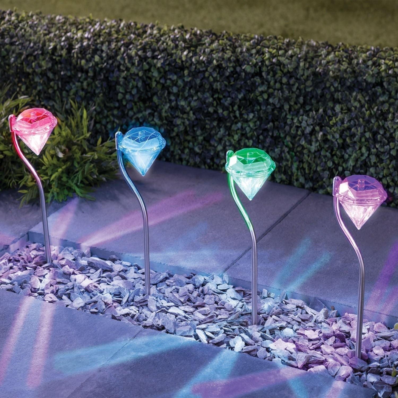 L mpara LED RGB en forma de diamante para exteriores funciona con carg