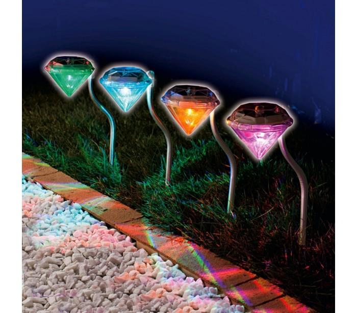 L mpara led rgb en forma de diamante para exteriores for Lamparas led jardin