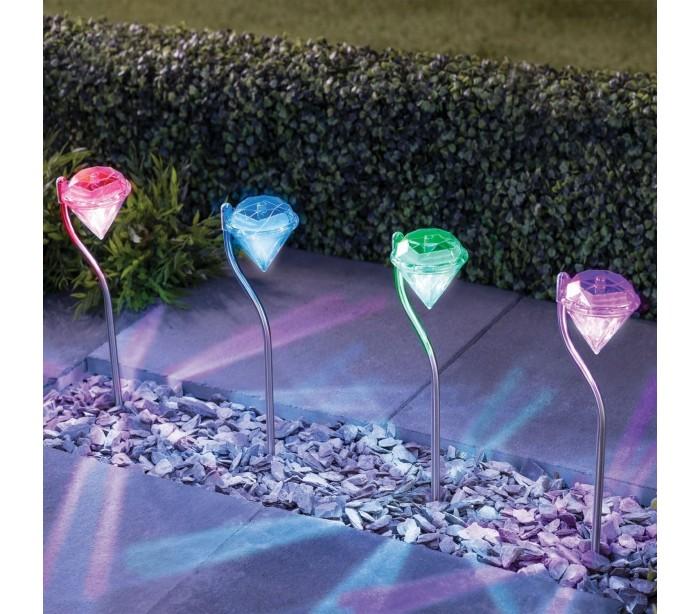 Pack de 4 l mparas led rgb en forma diamante para - Lampara de jardin solar ...