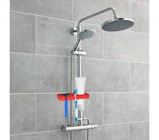 48352 Soporte para cepillo y la maquinilla de afeitar para ducha ideal para viajes
