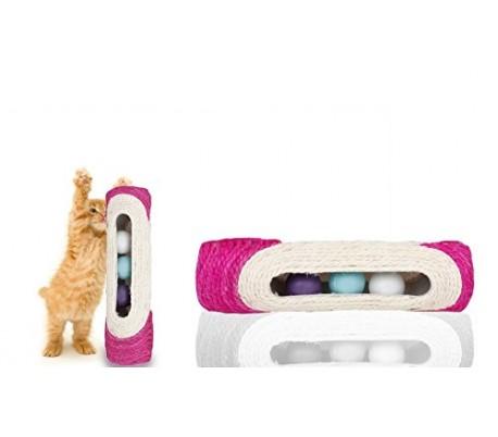 Juguete de sisal para gatos con pelotas sonoras en el interior (29 x 7,5 cm)