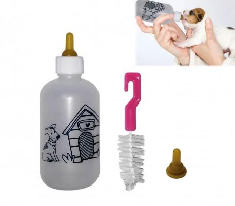 Biberón de 120ml para cachorros y gatitos (incluye 2 tetinas + cepillo de limpieza)